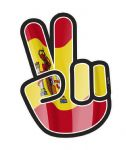 Hippy Style PEACE Hand With Spain Spanish Country Flag Motif External Vinyl Car Sticker 90x65mm